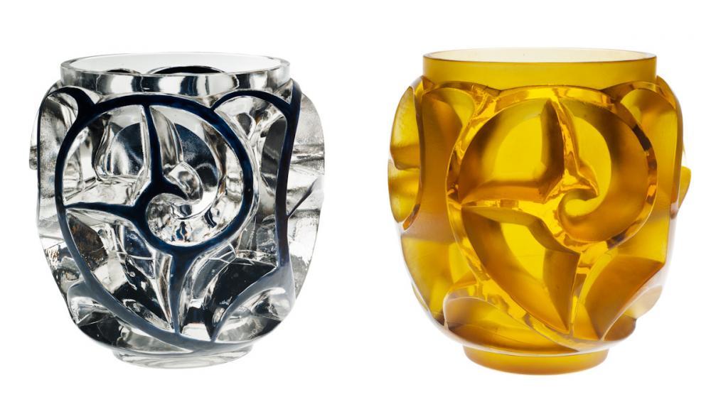 un vase Tourbillons incolore émaillé noir et un vase Tourbillons jaune