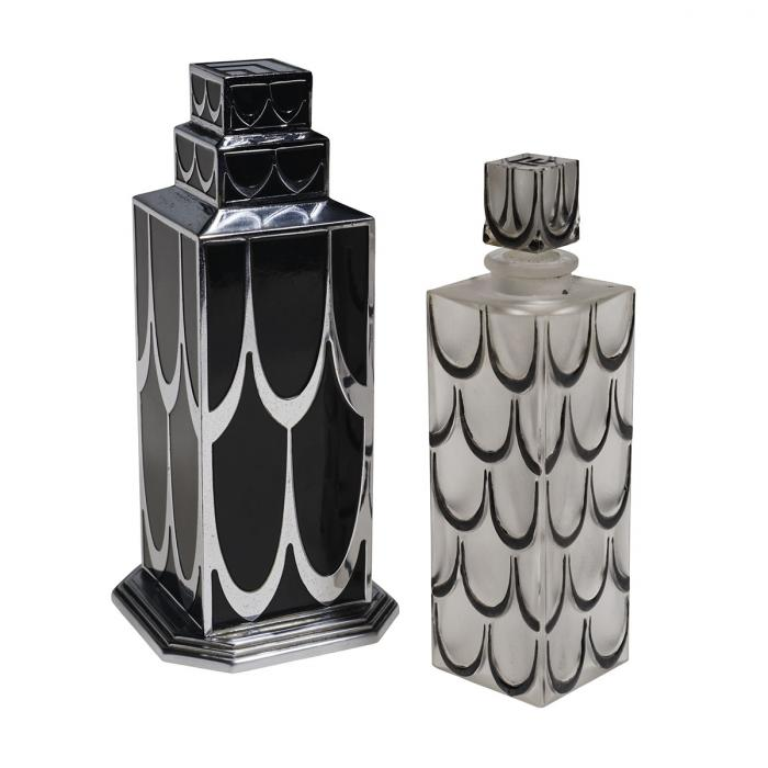 Flacon de parfum très Art Déco et sa boîte