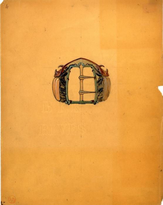 sur un papier orange, dessin d'une boucle de ceinture Deux colléoptères affrontés