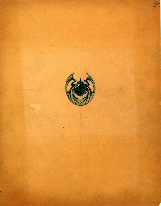sur un papier orange, dessin dans les tons noirs et verts d'un scarabée