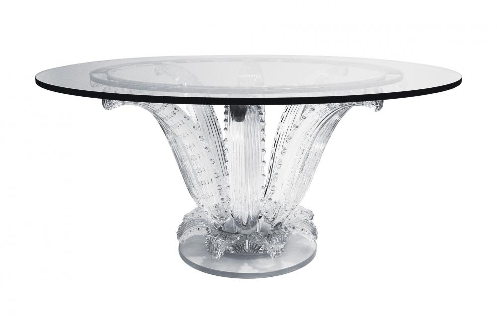 Table en cristal dont le pied est constitué de six branches représentant des cactus.
