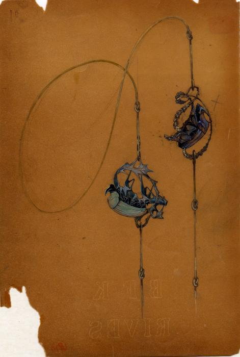 sur un papier orange déchiré en bas à gauche, dessin de deux scarabées accrochés chacun à l'envers sur des feuilles
