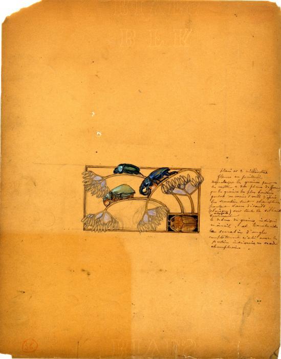 sur un papier orange, dessin dans un rectangle dessins de 3 scarabées de profil faisant ployer des tiges de fleurs sous leurs poids. En bas à gauche du rectangle, un scarabée vu de dessus. Sur la gauche du rectangle, un texte expliquant les techniques à utiliser pour réaliser le bijou