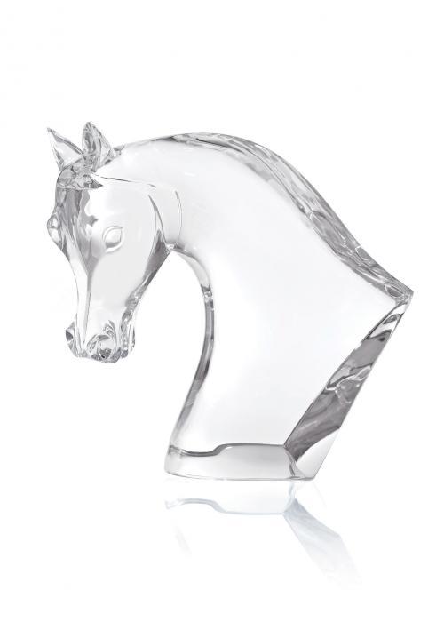 Buste de cheval massif en cristal transparent